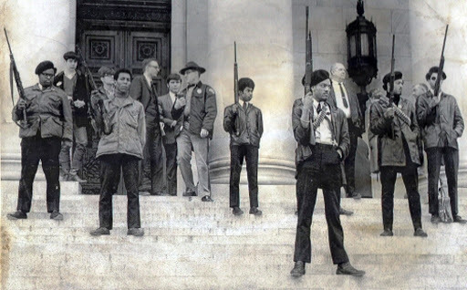 Members of the Black Panther party in Oakland, California protested a new ban on firearms in front of the California capitol building. Over 30 members were arrested and co-founder Bobby Seale was taken into custody.