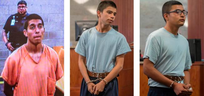 Alex Rios, 18, left, Nathaniel Carrillo, 16, and Gilbert Tafoya, 15, each appear before a judge on Monday. (Roberto E. Rosales/Albuquerque Journal)