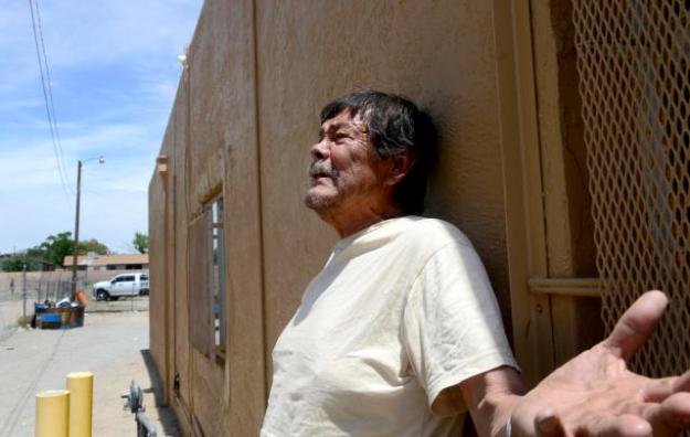Emerson Roanhorse says he knew the victims of the weekend's double murder and that he had been drinking with them earlier that night. He calls the suspects cowards. (Dean Hanson/Albuquerque Journal)