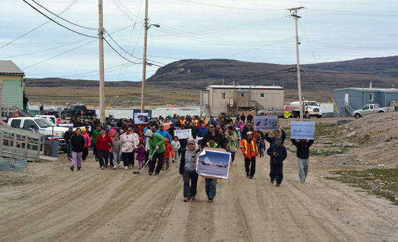 More than 100 people who took to the streets of Clyde River — and in Arctic Bay — this past July 23 to protest the National Energy Board's approval of seismic testing in Baffin Bay and Davis Strait.