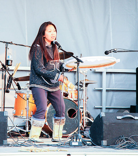 Lucy Tulugarjuk, performs an Inuit drum dance. Photo: Meagan Wohlberg