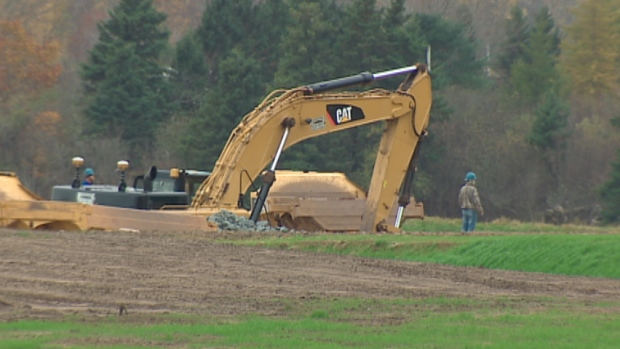 The provincial government has halted work on this portion of the $100 million Alton Gas Storage project. (CBC)