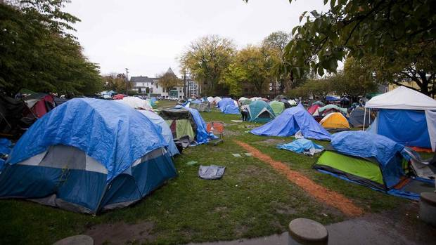 A general view of the tent city in Oppenheimer Park in Vancouver October 15 2014 & Tents still up at Vancouver homeless camp after deadline passes ...