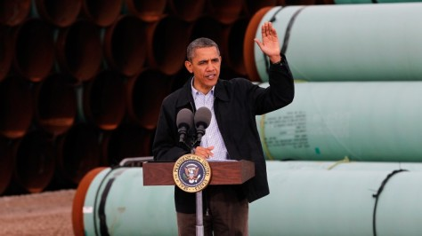 President Obama at the southern site of the Keystone XL pipeline, March 22, 2012 in Cushing, Okla.