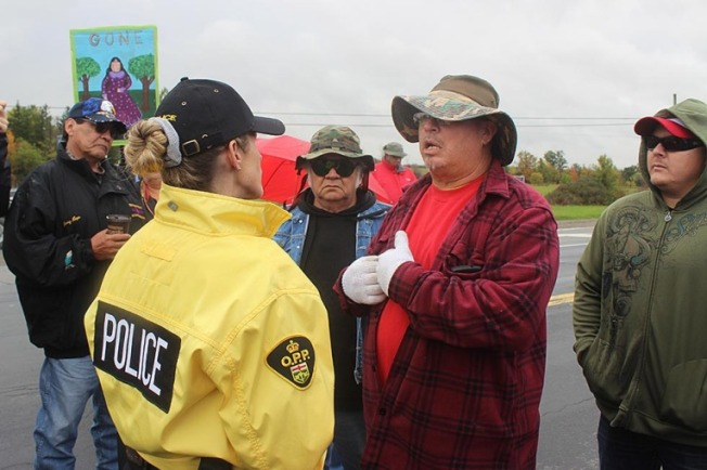 HALDIMAND Traffic on Highway 6 at Fourth Line Road was shut down by the Six Nations Men's Fire. The idea was to draw attention to an estimated 1,200 missing and murdered Indigenous women across Canada over the past 30 years. Photo: tworowtimes