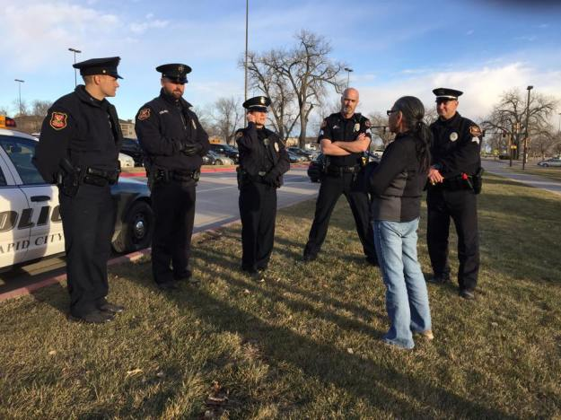 Catherine Grey Day addresses police at the #NativeLivesMatter march & rally, her son Luke GhostBear was murdered by Rapid City PD.  Photo; Facebook