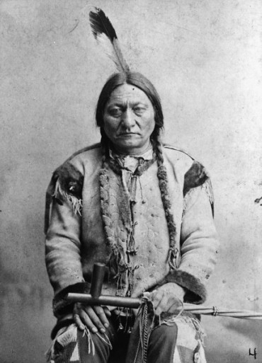 Sitting Bull 1884. Sitting Bull was shot and killed when police tried to arrest him outside his house on the Standing Rock reservation on December 15, 1890. Palmquist & Jurgens, photographer. (Denver Public Library; Western History Collection)