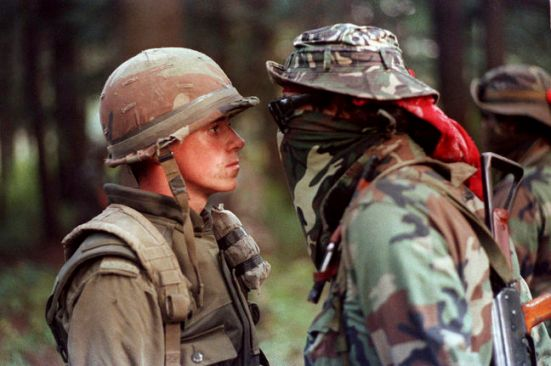 A Canadian solider and First Nations protester face off at the Kahnesatake reserve in Oka, Que., in September 1990.