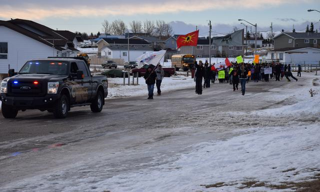 Members of the Blood Tribe hold a rally in Stand Off in January 2015, to protest the appearance of dangerous drugs in their community. Photo courtesy Blood Tribe Communication. Stand Off is a community in southern Alberta within the Blood Indian reserve, located on Highway 2, 43 kilometres southwest of Lethbridge.