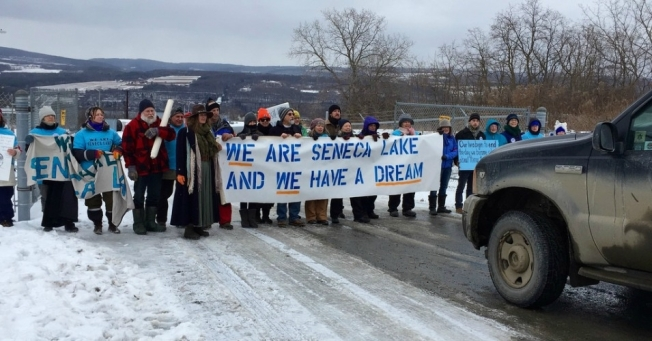 During the 3.5-hour blockade, protesters turned away two Crestwood trucks before they were arrested. (Photo: We Are Seneca Lake)