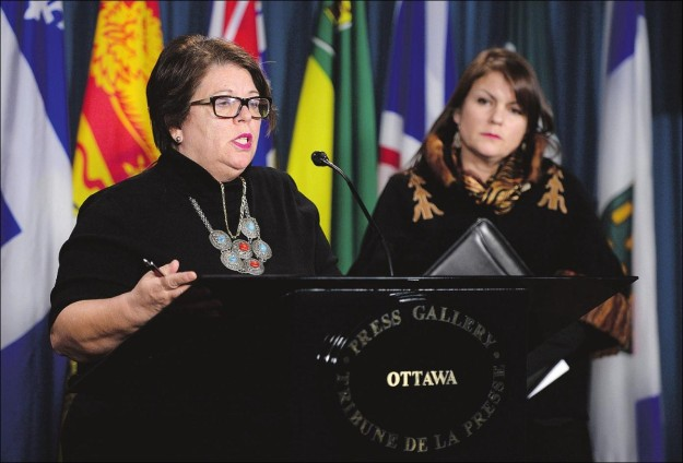 """Dr. Dawn Harvard, right, of the Native Women's Association of Canada, with Claudette Dumont-Smith, also of the NWAC, says Friday's roundtable has to be seen as a start to a better relationship. """"If not this meeting and this minister, maybe the next one."""" she said Thursday."""
