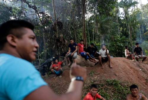 "Ka'apor Indian warriors hold a meeting in one of their ""protected areas"" from where they expelled loggers who they found illegally working in the Alto Turiacu Indian territory, near the Centro do Guilherme municipality in the northeast of Maranhao state in Brazil's Amazon basin."