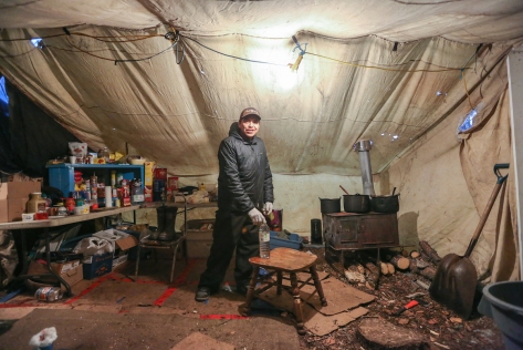 Bobby Montgrand in the trappers' tent in early December