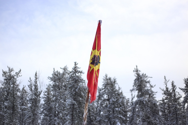 A unity flag at the northern camp