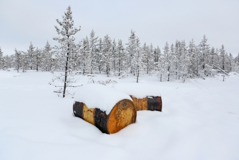 Fuel drums left behind by exploration companies