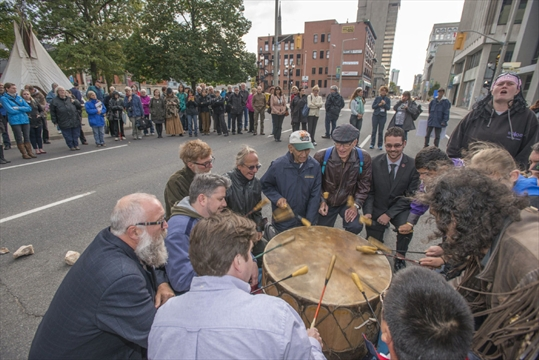 PROTEST Kaz Novak,Spectator file - Back in October, the public was invited to participate in a ceremonial drum in Hamilton during a weekend of protests across the country for 1,200 missing or murdered aboriginal women.