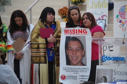 At a 2012 commemorative event in Edmonton geared toward murdered and missing Aboriginal women and girls, Gina Degerness spoke about her missing son Lucas Degerness. She received support from Stolen Sisters Awareness Movement members (from left) Tanya Stonechild, Danielle Voyageur and April Eve Wiberg.