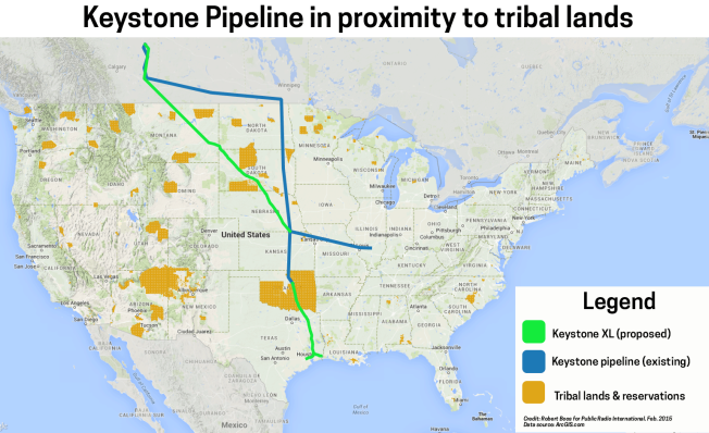 A map showing the proposed route of the Keystone XL pipeline and its path through tribal lands. Credit: Robert Boos