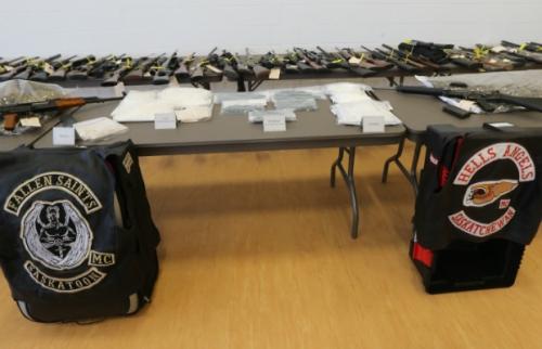 Items seized in raids displayed by police in Saskatoon. PHOTO: Richard Marjan, The StarPhoenix