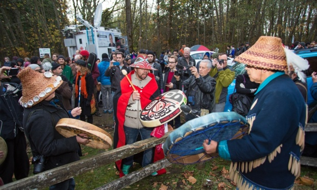 A rally against the expansion of the Kinder Morgan tar sands pipeline on Burnaby Mountain in British Columbia, Canada, in November, 2014. Photograph: Mark Klotz/flickr