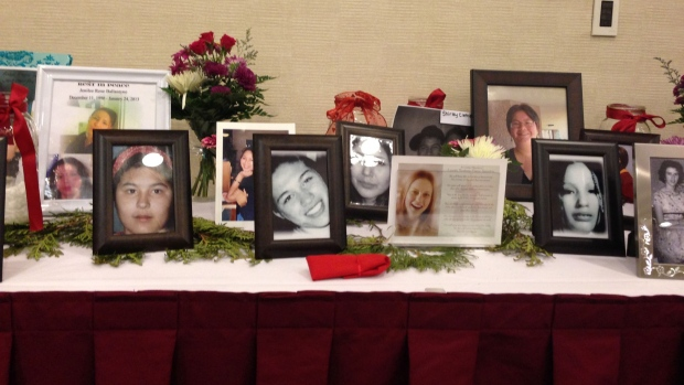 Photos of missing and murdered indigenous women at the national round table in Ottawa February 27. (Karina Roman/CBC)