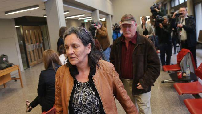 Miriam and Clayton Saunders, parents of alleged murder victim Loretta Saunders leave after speaking with media. Jury selection for the eight-man, four-women mostly-white panel concluded Tuesday afternoon at Nova Scotia Supreme Court in Halifax. (TIM KROCHAK / Staff)