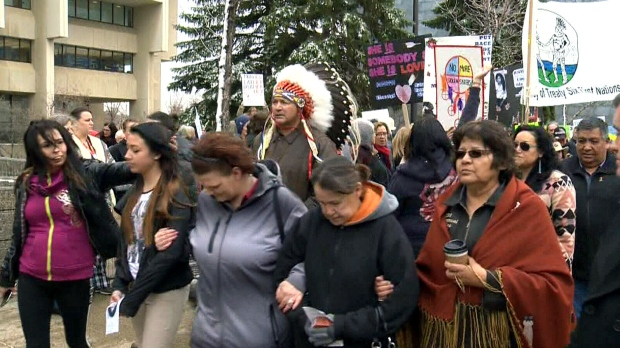 Protesters fill the streets of Edmonton on Thursday to show their support for Cindy Gladue.