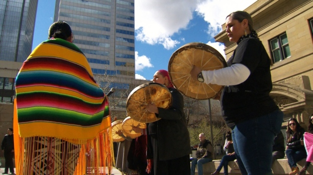 Protesters rally with a drum circle for Cindy Gladue in Edmonton, Thursday, April 2, 2015.