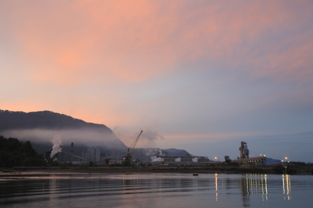 Part of the large Alcan aluminum smelting facility in Kitimat, British Columbia, Canada.