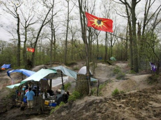 A camp setup amongst BMX bicycle jumps on what many believe are ancient native burial grounds in Toronto's High Park, Monday afternoon, May 16, 2011.