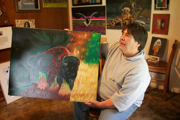 Chauncey Peltier, son of Leonard Peltier, the Native American who was convicted of killing two FBI agents in 1975 and sentenced to two consecutive terms of life imprisonment, is now taking care of all the paintings his dad makes in prison. Benjamin Brink/Staff