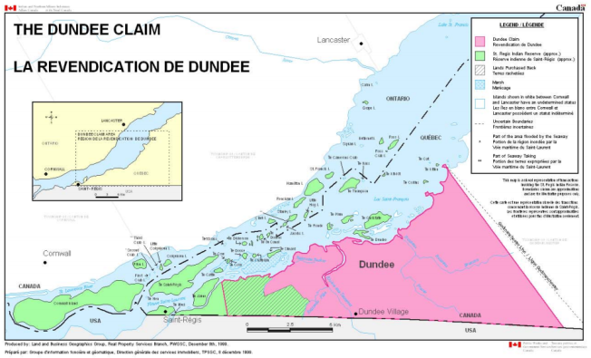 Map of the Mohawk's Dundee, or Tsikaristisere, land claim. (Government of Canada)
