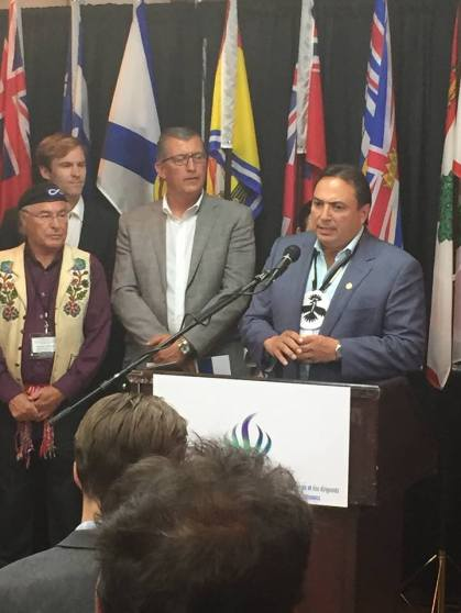 National Chief Bellegarde addressing media following meeting with Premiers in Happy Valley-Goose Bay, Labrador July 15, 2015. Photo: Facebook