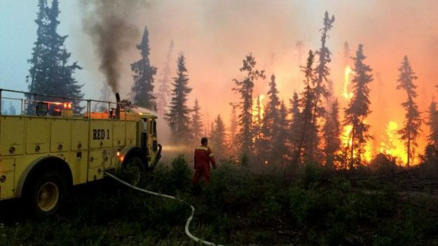 A fire burns through forest in the La Ronge area. One of 110 fires in Saskatchewan right now. Photo courtesy facebook, Government of Saskatchewan