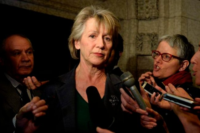 Liberal MP Joyce Murray Scrums with media in Ottawa on Tuesday, March 24, 2015. THE CANADIAN PRESS IMAGES/Matthew Usherwood