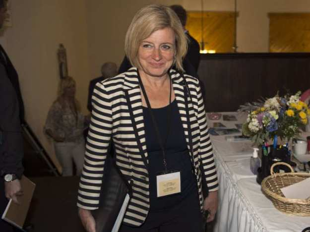 Alberta Premier Rachel Notley arrives for a meeting of Canadian premiers and national aboriginal leaders in Happy Valley-Goose Bay, Newfoundland and Labrador on Wednesday, July 15, 2015. ANDREW VAUGHAN / THE CANADIAN PRESS