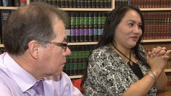 Pelly (right) with her lawyer Tom Campbell. Larissa Burnouf/APTN