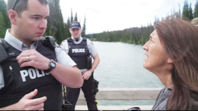 ACCESS DENIED: A still from video footage shows Houston RCMP officers requesting Unist'ot'en Camp spokesperson Freda Huson for access on July 15. When that failed, Chevron American officials tried on July 23 and got the same response.