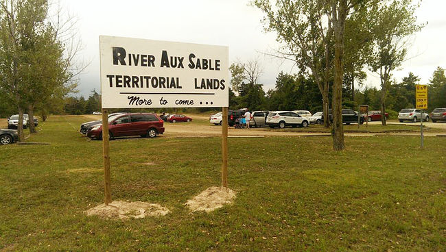 Land-claim signage was posted at a provincially-owned Ipperwash beach parking lot on East Parkway Drive this weekend. The Municipality of Lambton Shores has notified the Ministry of Natural Resources & Forestry, as well as the Ministry of Aboriginal Affairs. (PHOTO COURTESY OF CENTRE IPPERWASH COMMUNITY ASSOCIATION)