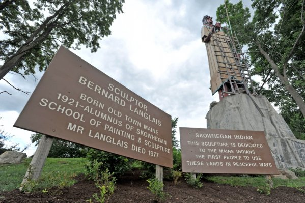 Langlais Park in Skowhegan, at the base of the Bernard Langlais Indian sculpture, will be dedicated in a ceremony Saturday. Skowhegan police are investigating an online threat calling for the sculpture to be burned down. Michael G. Seamans/Morning Sentinel