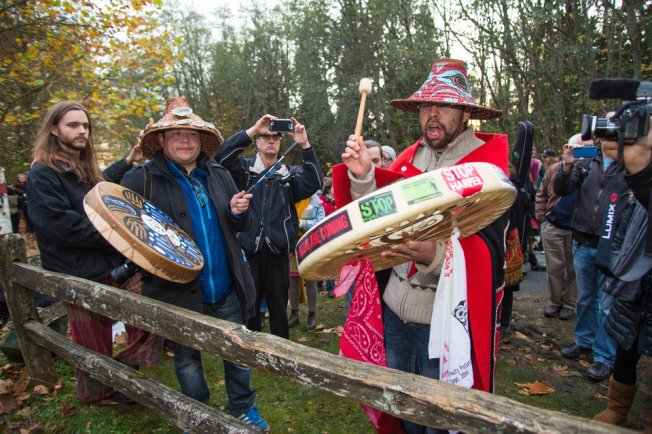 A rally against the proposed Kinder Morgan oil pipeline on Burnaby Mountain in British Columbia, Canada. CREDIT: MARK KLOTZ/FLICKR