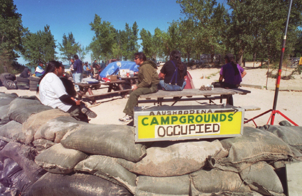 The blockade to the entrance to Ipperwash Beach in 1995, near where a Dudley George was shot by police.