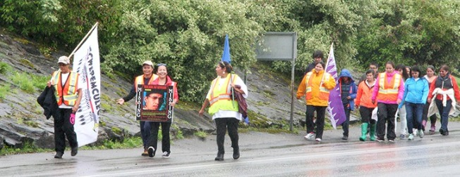Some of the walkers complete their journey from Norway House, Manitoba to Prince Rupert.— Image Credit: Shaun Thomas Photo