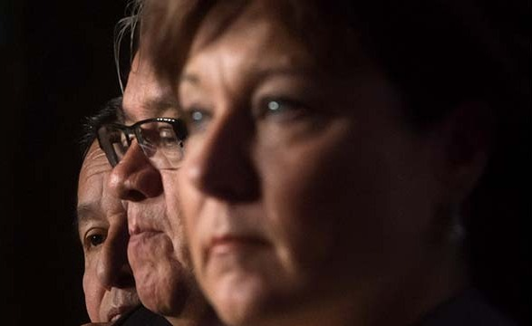 From left to right, Grand Chief Stewart Phillip, president of the Union of BC Indian Chiefs, Grand Chief Edward John and British Columbia Premier Christy Clark listen during a gathering with cabinet ministers and First Nations leaders in Vancouver, B.C., on Thursday September 11, 2014. THE CANADIAN PRESS/Darryl Dyck ORG XMIT: VCRD108