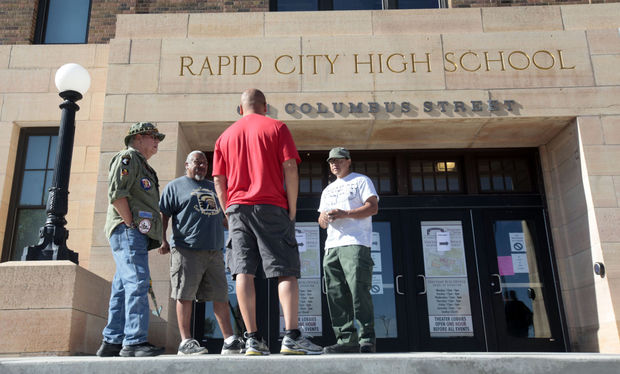 People gather outside Rapid City High School before the start of the second day of the Trace O'Connell disorderly conduct trial in July at the Performing Arts Center.