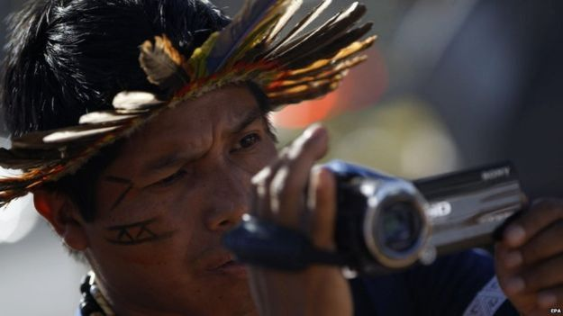 A member of the Guarani-Kaiowa tribe recorded the demonstration outside the Presidential Palace in Brasilia