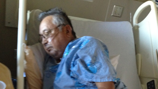 (Antoine Delormier, 67, in his hospital bed in Cornwall Thursday. Photo courtesy of family.)