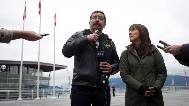 While Chief Ogen, who represents the elected council, is in favour of the gas pipelines, Freda Huson, who represents the Unist'ot'en, is steadfastly opposed. Ms. Huson is pictured with her husband, chief Toghestiy, in this photo when they spoke to the media about a blockade they've set up against the proposed Pacific Trail pipeline near Houston, B.C., in Vancouver on Monday April 7, 2014 (DARRYL DYCK/THE CANADIAN PRESS)
