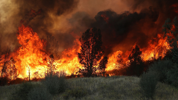 The Rocky Fire when flames were raging on Aug. 3. (Photo by Justin Sullivan/Getty Images)