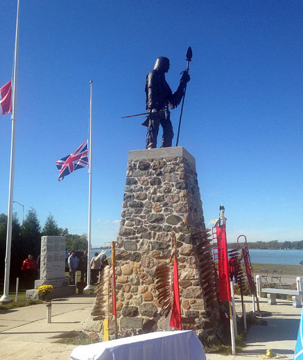 The Tecumseh monument that was unveiled Monday on Walpole Island on the Veterans' monument was something that the veterans of Walpole Island had wanted to create for close to 80 years. The monument honours the Native American leader Tecumseh on top of his final resting place, and overlooks the St. Clair River towards the United States. Tecumseh was killed in battle near Thamesville on Oct. 5, 1813 in the Battle of the Thames.(David Gough, Postmedia Network)
